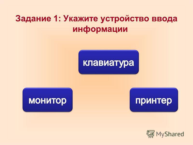 Задание 1: Укажите устройство ввода информации