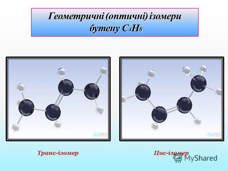 Геометричні (оптичні) ізомери бутену С 4 Н 8 Цис-ізомер Транс-ізомер