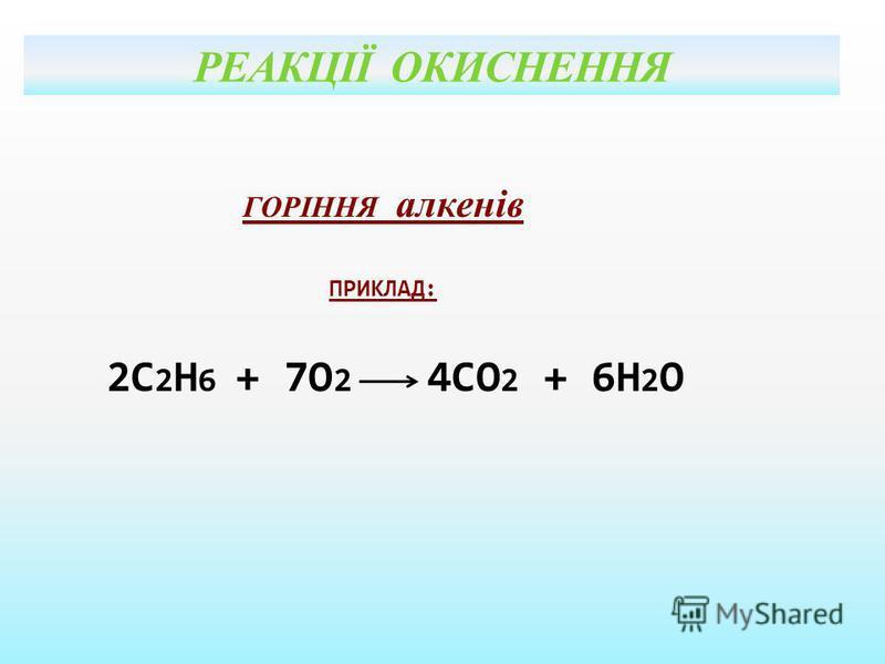 РЕАКЦІЇ ОКИСНЕННЯ ГОРІННЯ алкенів ПРИКЛАД: 2С 2 Н 6 + 7О 2 4СО 2 + 6Н 2 О