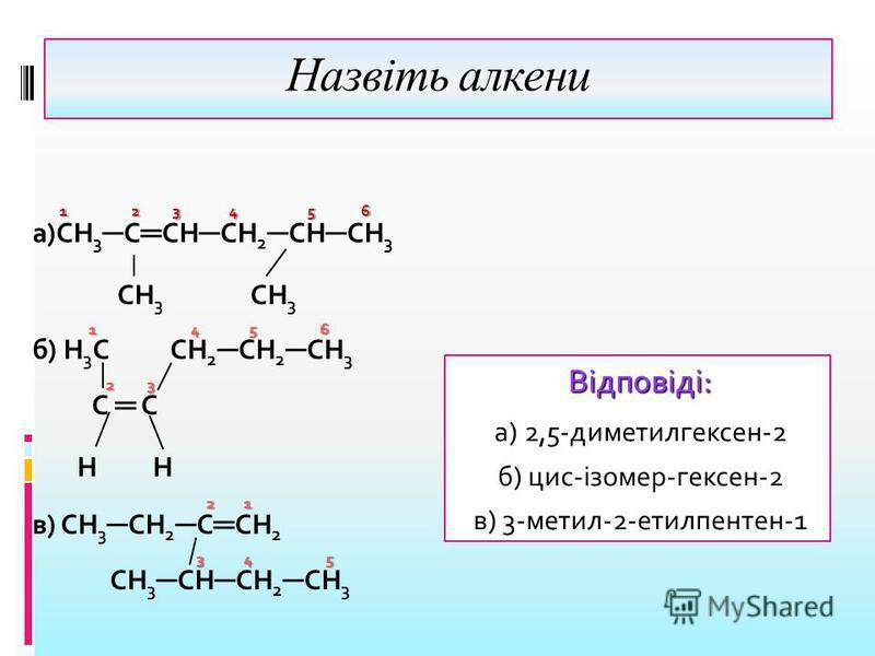Назвіть алкени 1 2 3 4 5 6 1 2 3 4 5 6 а)СН 3 С СН СН 2 СН СН 3 СН 3 СН 3 1 4 5 6 б) Н 3 С СН 2 СН 2 СН 3 2 3 С Н 2 1 в) СН 3 СН 2 С СН 2 3 4 5 СН 3 СН СН 2 СН 3 Відповіді: а) 2,5-диметилгексен-2 б) цис-ізомер-гексен-2 в) 3-метил-2-етилпентен-1