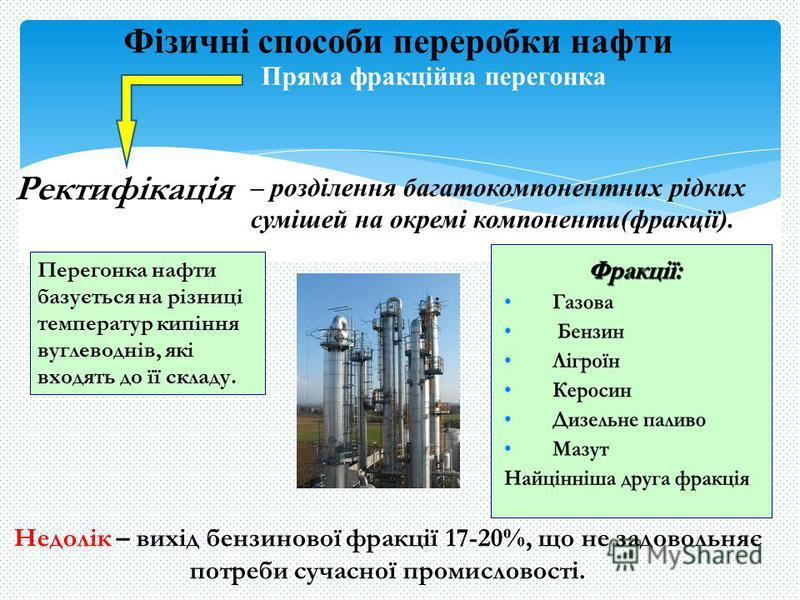Фізичні способи переробки нафти Ректифікація – розділення багатокомпонентних рідких сумішей на окремі компоненти(фракції). Недолік – вихід бензинової фракції 17-20%, що не задовольняє потреби сучасної промисловості. Перегонка нафти базується на різни
