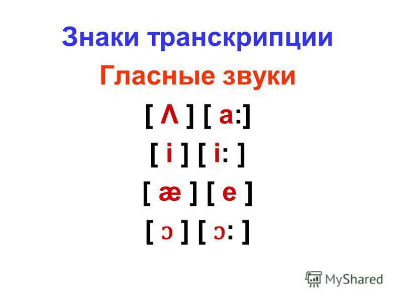 Знаки транскрипции Гласные звуки [ Λ ] [ a:] [ i ] [ i: ] [ æ ] [ e ] [ ɔ ] [ ɔ : ]