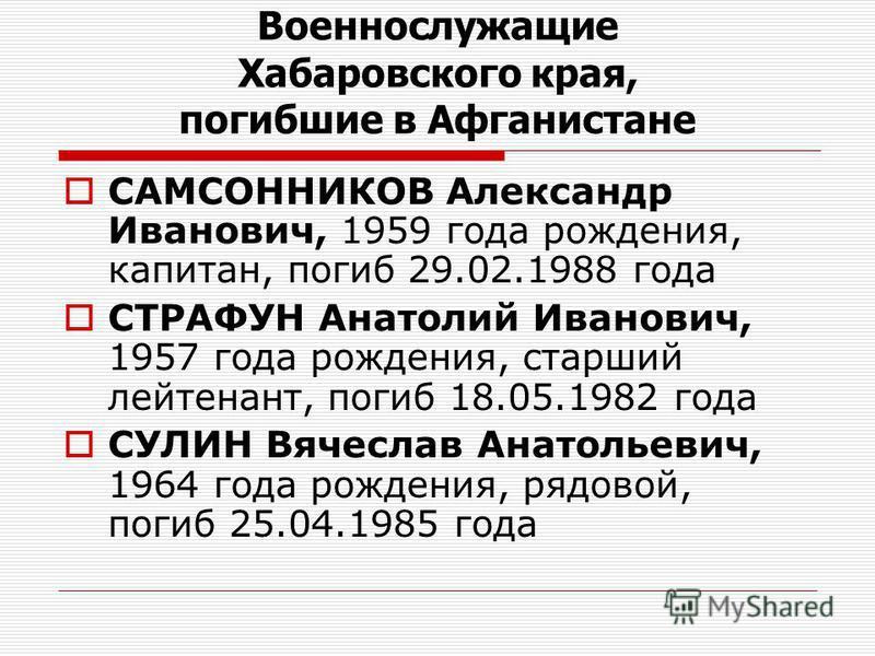 САМСОННИКОВ Александр Иванович, 1959 года рождения, капитан, погиб 29.02.1988 года СТРАФУН Анатолий Иванович, 1957 года рождения, старший лейтенант, погиб 18.05.1982 года СУЛИН Вячеслав Анатольевич, 1964 года рождения, рядовой, погиб 25.04.1985 года