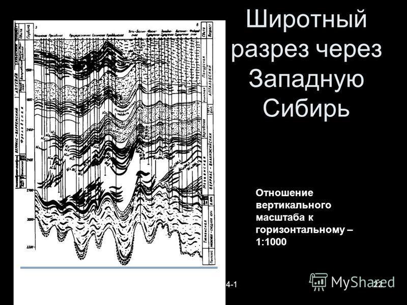 Геофизики-2014-122 Широтный разрез через Западную Сибирь Отношение вертикального масштаба к горизонтальному – 1:1000