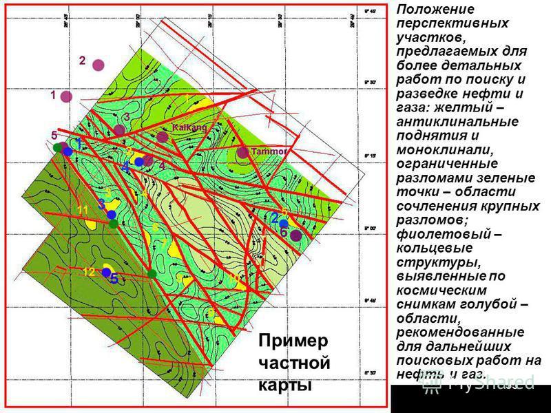 Геофизики-2014-155 Положение перспективных участков, предлагаемых для более детальных работ по поиску и разведке нефти и газа: желтый – антиклинальные поднятия и моноклинали, ограниченные разломами зеленые точки – области сочленения крупных разломов;