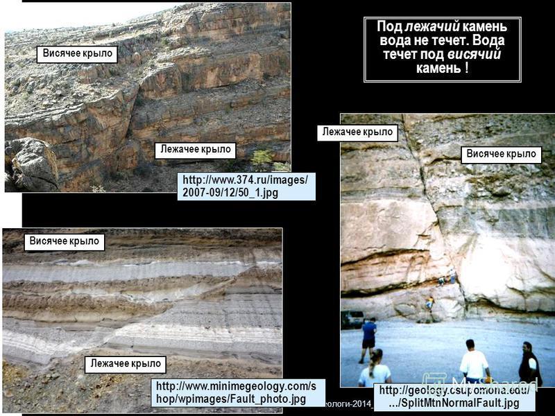 Геологи-2014_ л 5 8 Висячее крыло Лежачее крыло http://geology.csupomona.edu/ …/SplitMtnNormalFault.jpg http://www.minimegeology.com/s hop/wpimages/Fault_photo.jpg Висячее крыло Лежачее крыло http://www.374.ru/images/ 2007-09/12/50_1. jpg Висячее кры