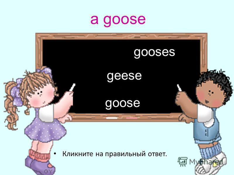 a goose Кликните на правильный ответ. geese goose gooses
