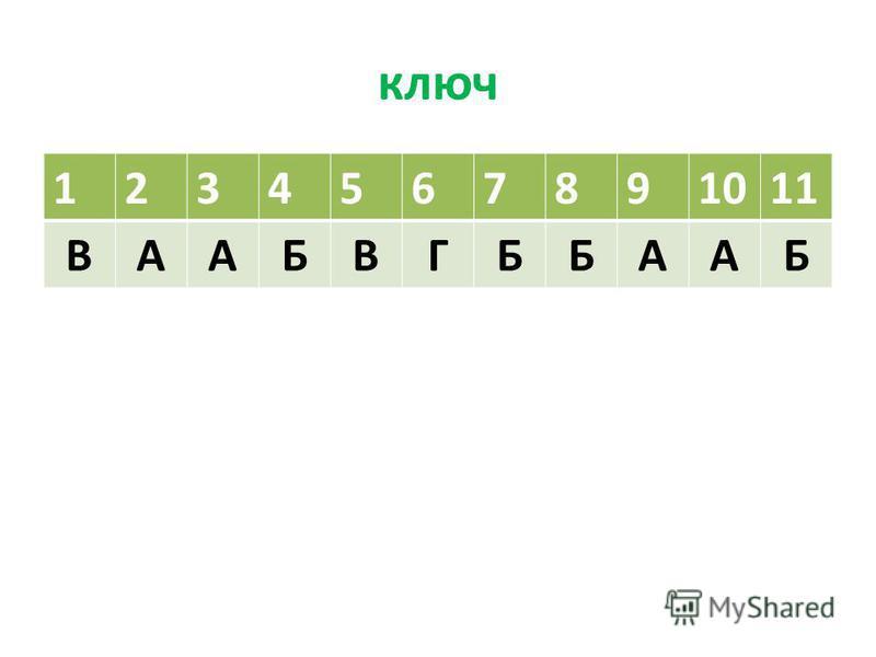 ключ 1234567891011 ВААБВГББААБ