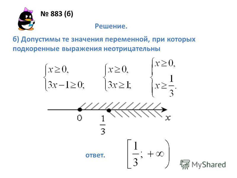 883 (б) Решение. б) Допустимы те значения переменной, при которых подкоренные выражения неотрицательны ответ.