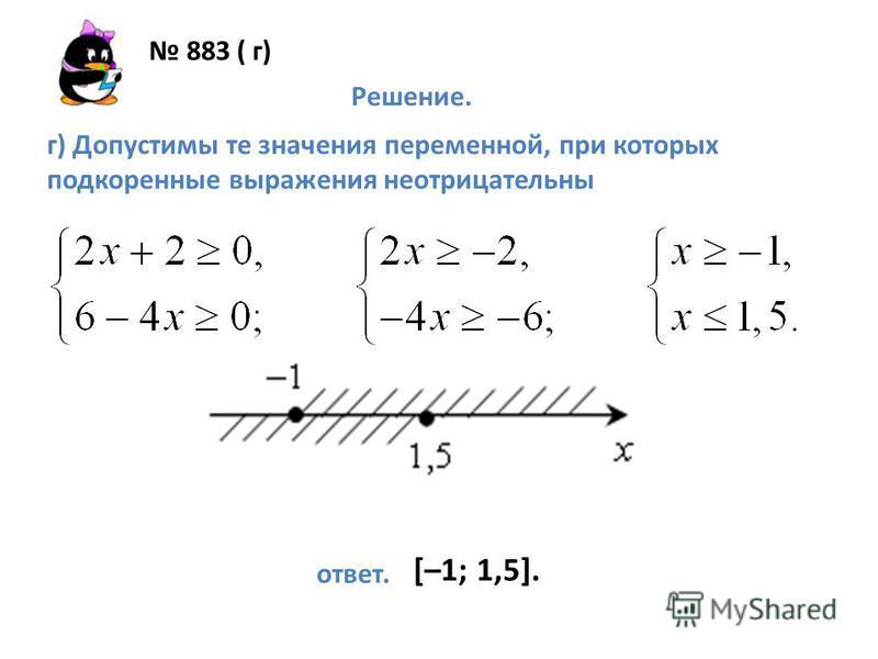 883 ( г) Решение. г) Допустимы те значения переменной, при которых подкоренные выражения неотрицательны ответ. [–1; 1,5].