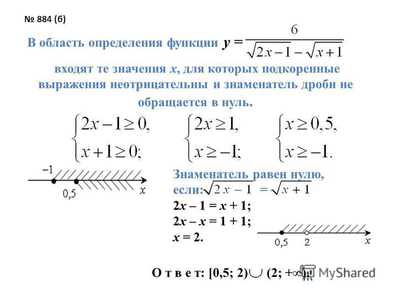 884 (б) В область определения функции y = входят те значения х, для которых подкоренные выражения неотрицательны и знаменатель дроби не обращается в нуль. Знаменатель равен нулю, если: = 2 х – 1 = х + 1; 2 х – х = 1 + 1; х = 2. О т в е т: [0,5; 2) (2