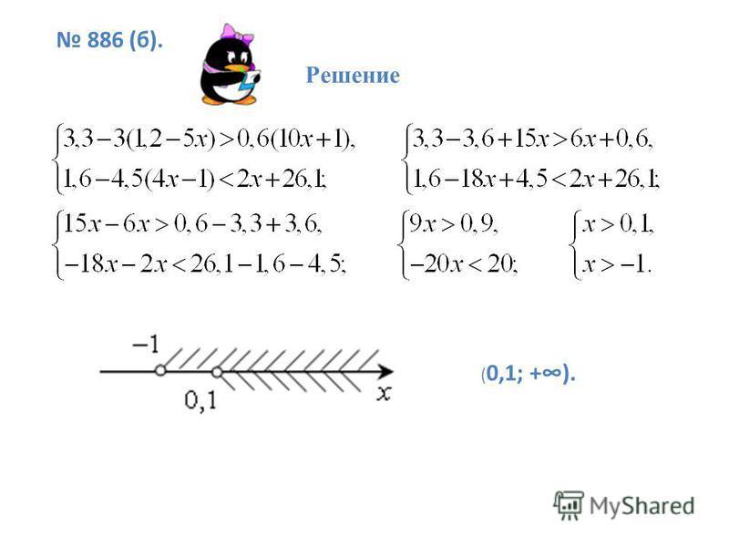 886 (б). Решение ( 0,1; +).
