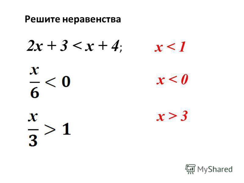 Решите неравенства 2 х + 3 < х + 4 ; х < 1 х < 0 х > 3
