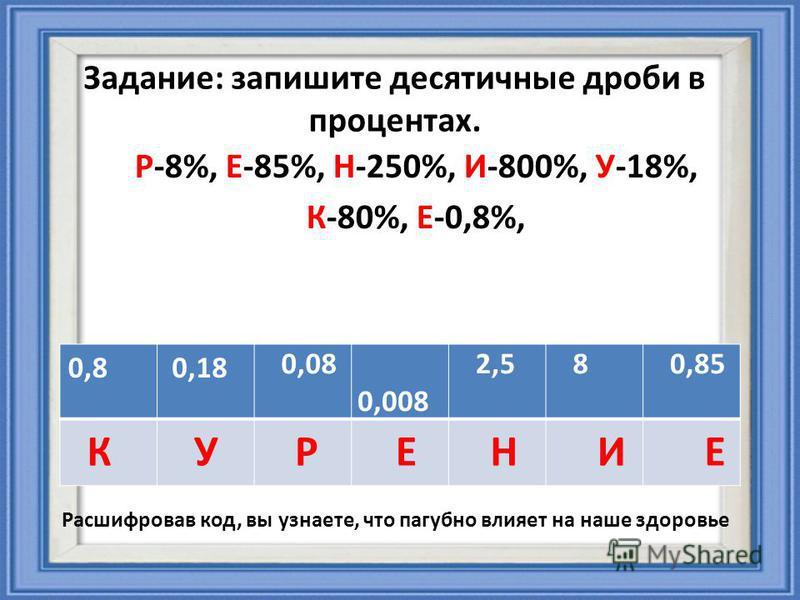 Задание: запишите десятичные дроби в процентах. Р-8%, Е-85%, Н-250%, И-800%, У-18%, К-80%, Е-0,8%, 0,8 0,18 0,08 0,008 2,5 8 0,85 Расшифровав код, вы узнаете, что пагубно влияет на наше здоровье РЕНИУКЕ