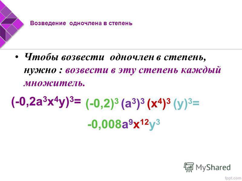 Чтобы возвести одночлен в степень, нужно : возвести в эту степень каждый множитель. (-0,2 а 3 х 4 у) 3 = (-0,2) 3 (а 3 ) 3 (х 4 ) 3 (у) 3 = -0,008 а 9 х 12 у 3 Возведение одночлена в степень