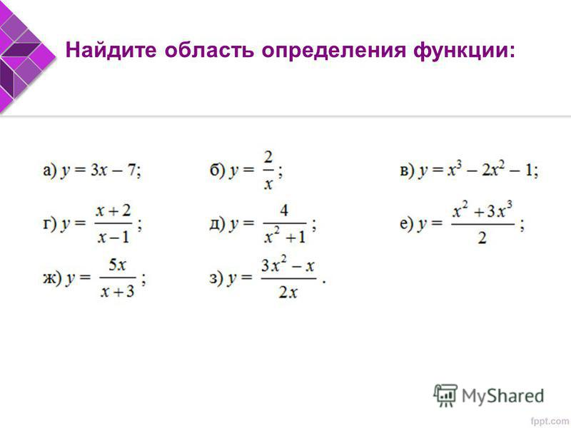 Найдите область определения функции:
