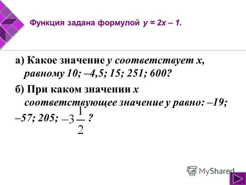 Функция задана формулой у = 2 х – 1. а) Какое значение у соответствует х, равному 10; –4,5; 15; 251; 600? б) При каком значении х соответствующее значение у равно: –19; –57; 205; ?