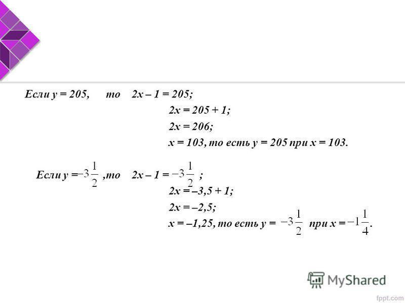 Если у = 205,то 2 х – 1 = 205; 2 х = 205 + 1; 2 х = 206; х = 103, то есть у = 205 при х = 103. Если у =,то 2 х – 1 = ; 2 х = –3,5 + 1; 2 х = –2,5; х = –1,25, то есть у = при х =.