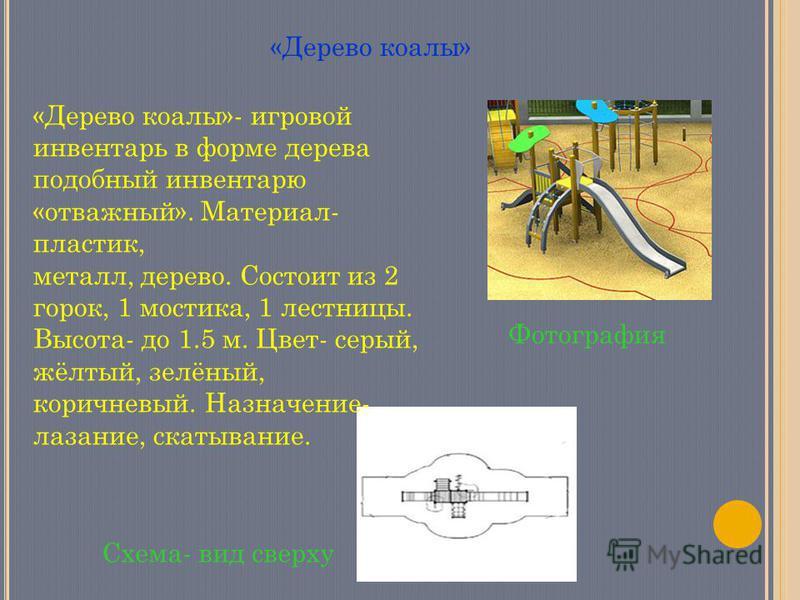 «Дерево коалы» Фотография Схема- вид сверху «Дерево коалы»- игровой инвентарь в форме дерева подобный инвентарю «отважный». Материал- пластик, металл, дерево. Состоит из 2 горок, 1 мостика, 1 лестницы. Высота- до 1.5 м. Цвет- серый, жёлтый, зелёный,