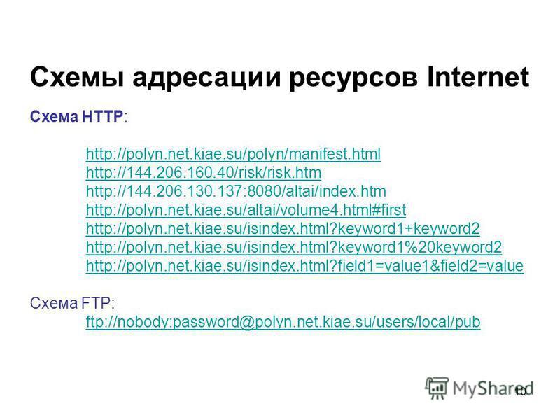 10 Схемы адресации ресурсов Internet Схема HTTP: http://polyn.net.kiae.su/polyn/manifest.html http://144.206.160.40/risk/risk.htm http://144.206.130.137:8080/altai/index.htm http://polyn.net.kiae.su/altai/volume4.html#first http://polyn.net.kiae.su/i