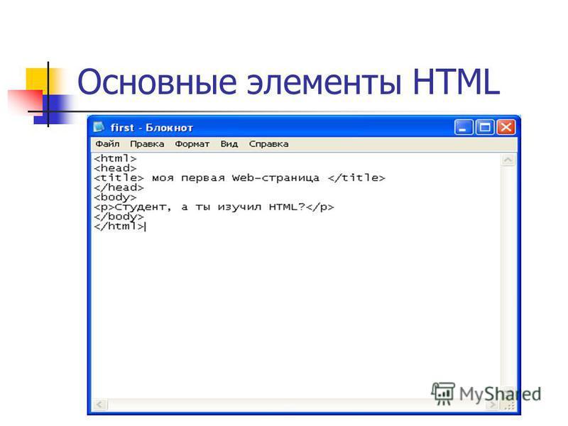 Основные элементы HTML
