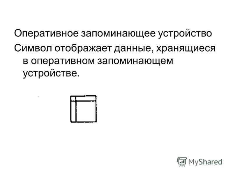 Оперативное запоминающее устройство Символ отображает данные, хранящиеся в оперативном запоминающем устройстве.