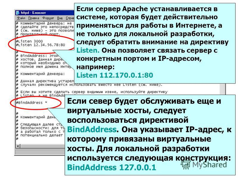 Если сервер Apache устанавливается в системе, которая будет действительно применяться для работы в Интернете, а не только для локальной разработки, следует обратить внимание на директиву Listen. Она позволяет связать сервер с конкретным портом и IP-а