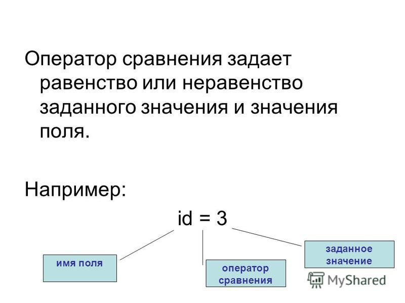 Оператор сравнения задает равенство или неравенство заданного значения и значения поля. Например: id = 3 имя поля оператор сравнения заданное значение