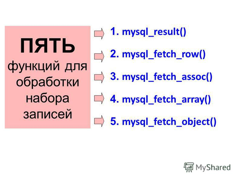 ПЯТЬ функций для обработки набора записей 1. mysql_result() 2. mysql_fetch_row() 3. mysql_fetch_assoc() 4. mysql_fetch_array() 5. mysql_fetch_object()
