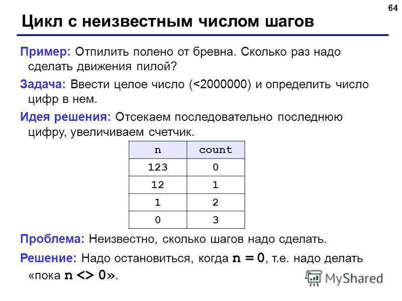 64 Цикл с неизвестным числом шагов Пример: Отпилить полено от бревна. Сколько раз надо сделать движения пилой? Задача: Ввести целое число (<2000000) и определить число цифр в нем. Идея решения: Отсекаем последовательно последнюю цифру, увеличиваем сч