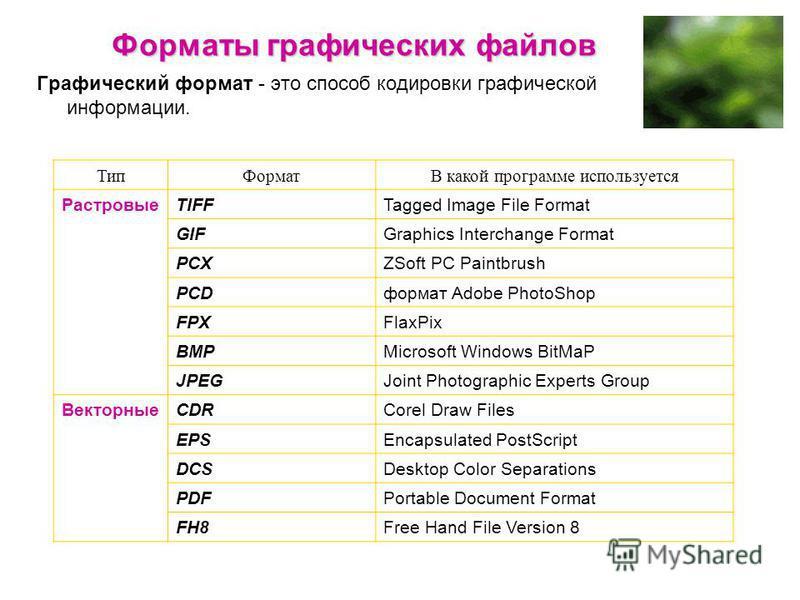 Форматы графических файлов Графический формат - это способ кодировки графической информации. Тип ФорматВ какой программе используется РастровыеTIFFTagged Image File Format GIFGraphics Interchange Format РСХZSoft РС Paintbrush PCDформат Adobe PhotoSho