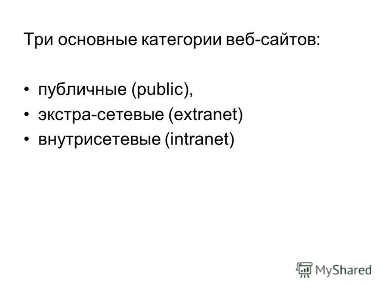 Три основные категории веб-сайтов: публичные (public), экстра-сетевые (extranet) внутрисетевые (intranet)