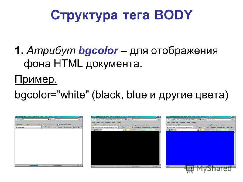 Структура тега BODY 1. Атрибут bgcolor – для отображения фона HTML документа. Пример. bgcolor=white (black, blue и другие цвета)