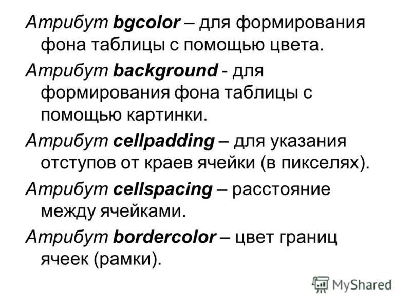 Атрибут bgcolor – для формирования фона таблицы с помощью цвета. Атрибут background - для формирования фона таблицы с помощью картинки. Атрибут cellpadding – для указания отступов от краев ячейки (в пикселях). Атрибут cellspacing – расстояние между я