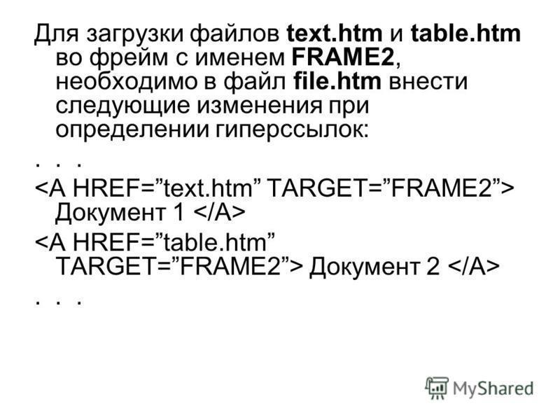 Для загрузки файлов text.htm и table.htm во фрейм с именем FRAME2, необходимо в файл file.htm внести следующие изменения при определении гиперссылок:... Документ 1 Документ 2...