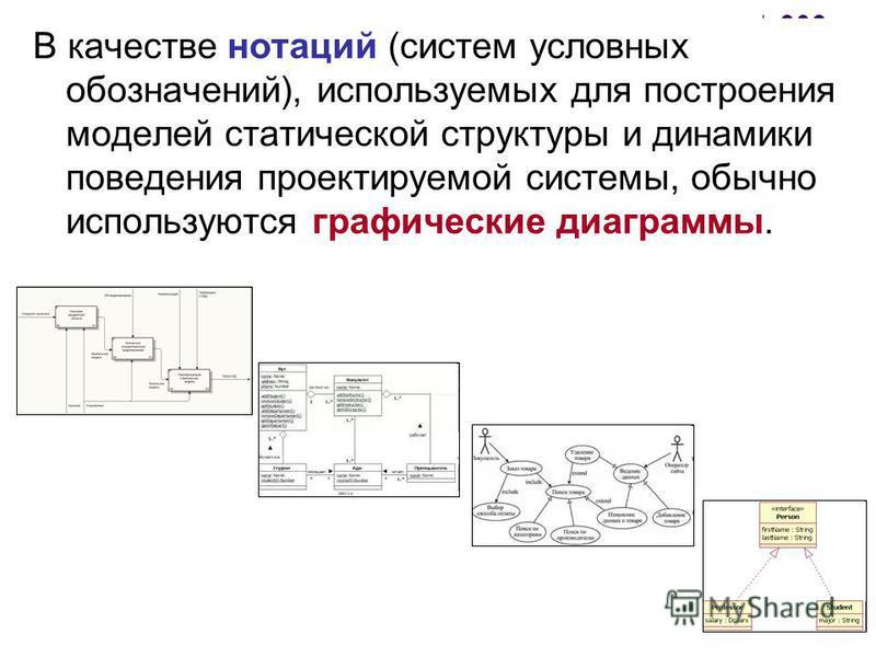 В качестве нотаций (систем условных обозначений), используемых для построения моделей статической структуры и динамики поведения проектируемой системы, обычно используются графические диаграммы.