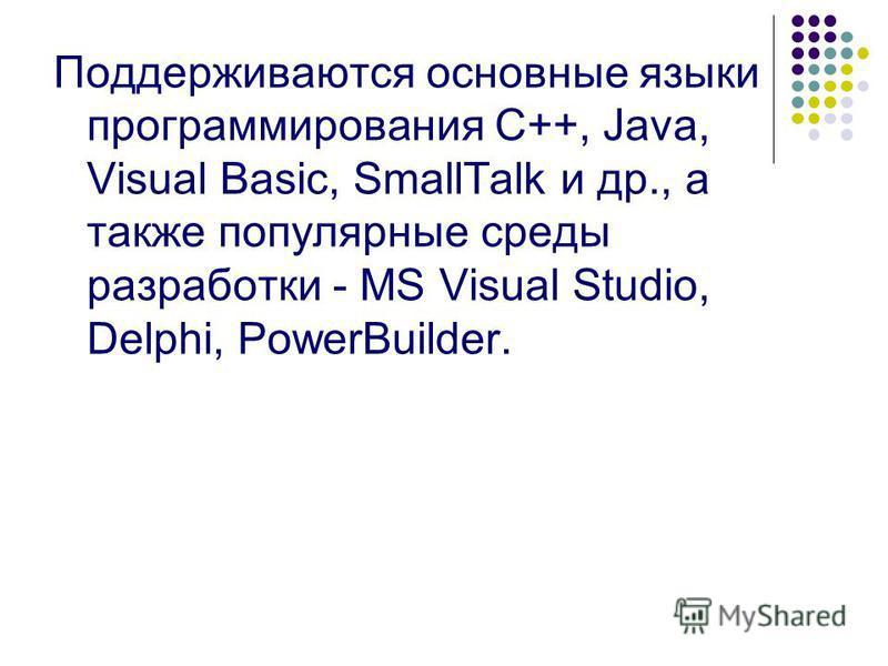 Поддерживаются основные языки программирования С++, Java, Visual Basic, SmallTalk и др., а также популярные среды разработки - MS Visual Studio, Delphi, PowerBuilder.