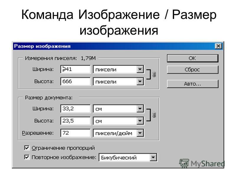 Команда Изображение / Размер изображения