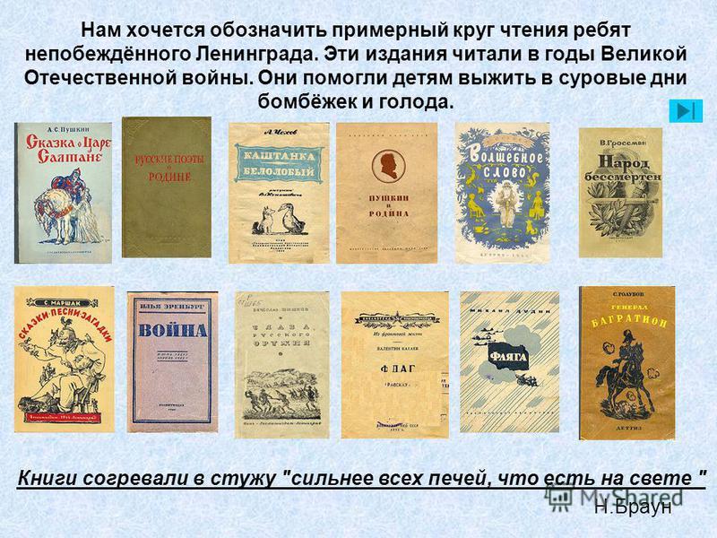 Нам хочется обозначить примерный круг чтения ребят непобеждённого Ленинграда. Эти издания читали в годы Великой Отечественной войны. Они помогли детям выжить в суровые дни бомбёжек и голода. Книги согревали в стужу