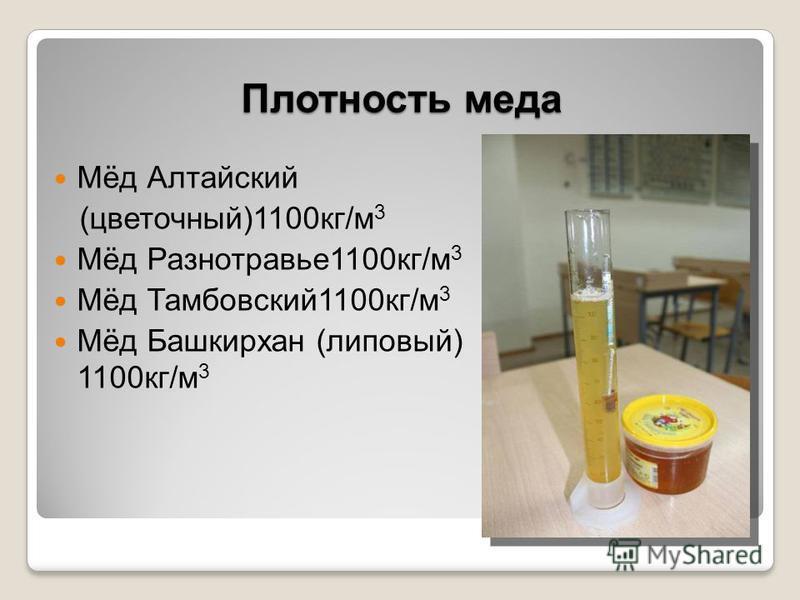 Плотность меда Мёд Алтайский (цветочный)1100 кг/м 3 Мёд Разнотравье 1100 кг/м 3 Мёд Тамбовский 1100 кг/м 3 Мёд Башкирхан (липовый) 1100 кг/м 3