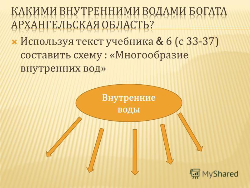 Используя текст учебника & 6 ( с 33-37) составить схему : « Многообразие внутренних вод »