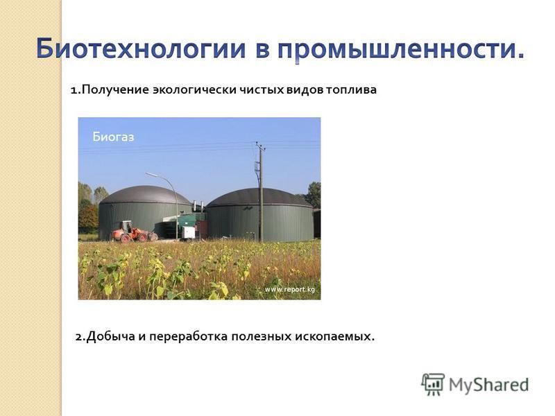 1. Получение экологически чистых видов топлива Биогаз 2. Добыча и переработка полезных ископаемых.