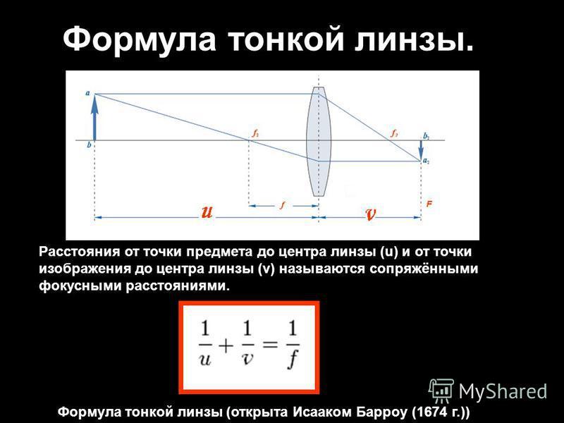 Формула тонкой линзы. Расстояния от точки предмета до центра линзы (u) и от точки изображения до центра линзы (v) называются сопряжёнными фокусными расстояниями. Формула тонкой линзы (открыта Исааком Барроу (1674 г.))