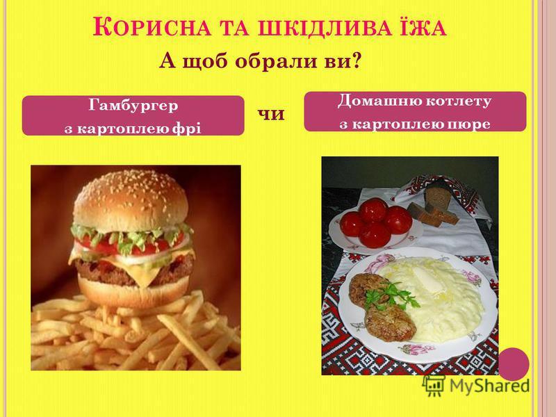 Гамбургер з картоплею фрі Домашню котлету з картоплею пюре К ОРИСНА ТА ШКІДЛИВА ЇЖА А щоб обрали ви? чи
