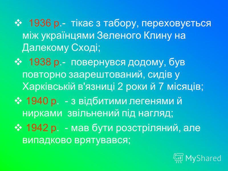 1936 р.- тікає з табору, переховується між українцями Зеленого Клину на Далекому Сході; 1938 р.- повернувся додому, був повторно заарештований, сидів у Харківській в'язниці 2 роки й 7 місяців; 1940 р. - з відбитими легенями й нирками звільнений під н