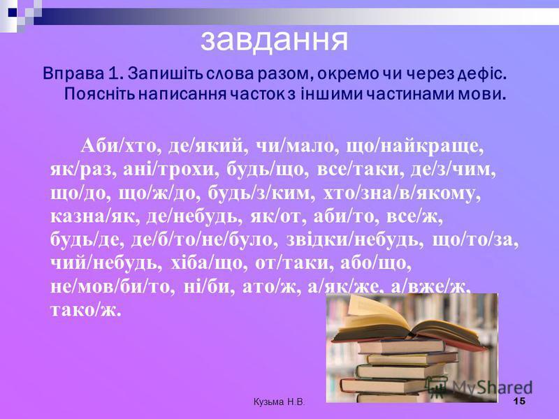 Кузьма Н.В. 15 завдання Вправа 1. Запишіть слова разом, окремо чи через дефіс. Поясніть написання часток з іншими частинами мови. Аби/хто, де/який, чи/мало, що/найкраще, як/раз, ані/трохи, будь/що, все/таки, де/з/чим, що/до, що/ж/до, будь/з/ким, хто/