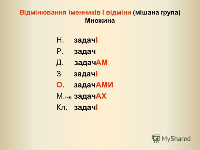 Відмінювання іменників І відміни (мішана група) Множина Н. задач Р. задач Д. задач З. задач О. задач М. (на) задач Кл. задач І АМ І АМИ АХ І