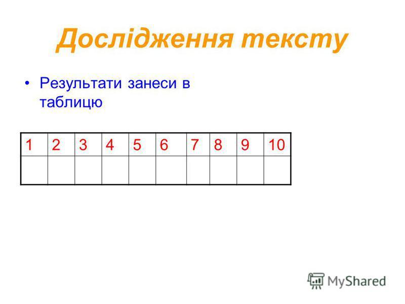 Дослідження тексту Результати занеси в таблицю 12345678910