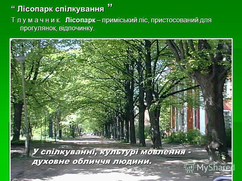 Лісопарк спілкування Лісопарк спілкування Т л у м а ч н и к. Лісопарк – приміський ліс, пристосований для прогулянок, відпочинку. У спілкуванні, культурі мовлення - духовне обличчя людини.