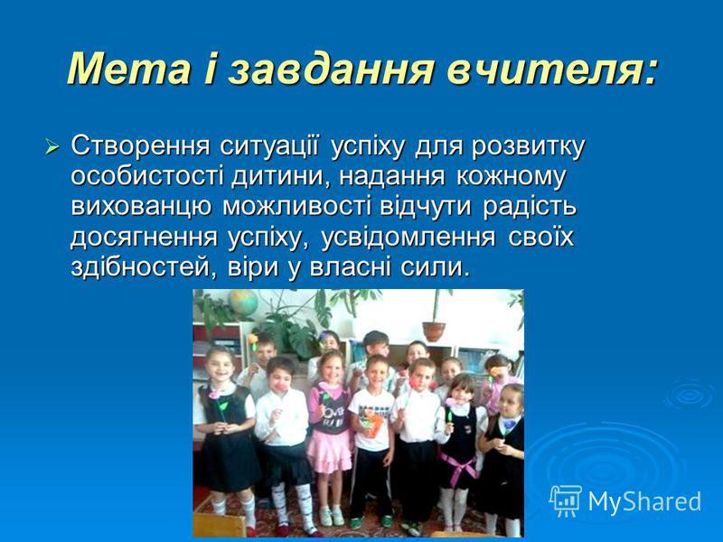 Мета і завдання вчителя: Створення ситуації успіху для розвитку особистості дитини, надання кожному вихованцю можливості відчути радість досягнення успіху, усвідомлення своїх здібностей, віри у власні сили. Створення ситуації успіху для розвитку особ